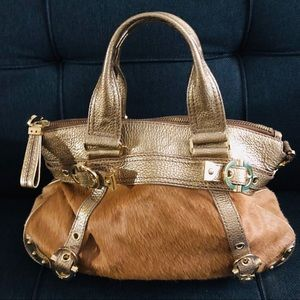 Rafe Cow Hide Leather Purse Light Brown & Gold